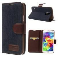 Jeans peněženkové pouzdro na mobil Samsung Galaxy S5 - černomodré