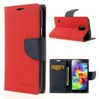 Diary peněženkové pouzdro na Samsung Galaxy S5 - červené