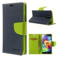 Diary peněženkové pouzdro na Samsung Galaxy S5 - tmavěmodré