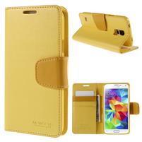 Elegantní peněženkové pouzdro na Samsung Galaxy S5 - žluté