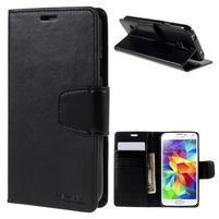 Elegantní peněženkové pouzdro na Samsung Galaxy S5 - černé