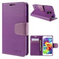 Elegantní peněženkové pouzdro na Samsung Galaxy S5 - fialové