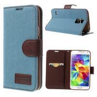 Jeans peněženkové pouzdro na mobil Samsung Galaxy S5 - světlemodré