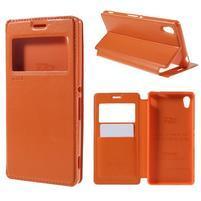 Okýnkové PU kožené pouzdro na Sony Xperia M4 Aqua - oranžové
