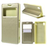 Okýnkové PU kožené pouzdro na Sony Xperia M4 Aqua - zlaté