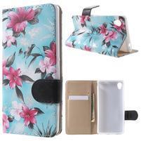 Květinkové pouzdro na mobil Sony Xperia M4 Aqua - modré