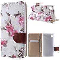 Květinkové pouzdro na mobil Sony Xperia M4 Aqua - bílé