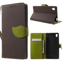 Leaf PU kožené pouzdro na mobil Sony Xperia M4 Aqua - hnědé