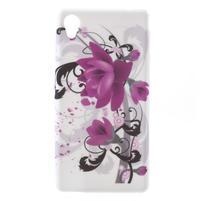 Emotive gelový obal na Sony Xperia M4 Aqua - fialový květ