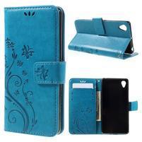 Butterfly PU kožené pouzdro na Sony Xperia X - modré