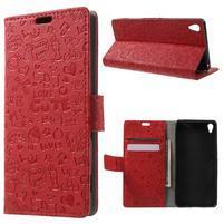 Cartoo peněženkové pouzdro na mobil Sony Xperia XA - červené
