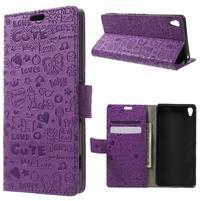 Cartoo peněženkové pouzdro na mobil Sony Xperia XA - fialové