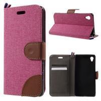 Denim textilní/koženkové pouzdro na Sony Xperia XA - rose
