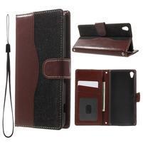 Jeansy PU kožené/textilní pouzdro na Sony Xperia XA - černé