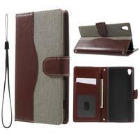 Jeansy PU kožené/textilní pouzdro na Sony Xperia XA - šedé