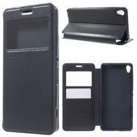 Royal PU kožené pouzdro s okýnkem na Sony Xperia XA - tmavěmodré