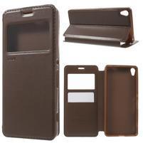 Royal PU kožené pouzdro s okýnkem na Sony Xperia XA - hnědé