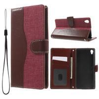 Jeansy PU kožené/textilní pouzdro na Sony Xperia XA - rose