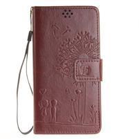 Dandely PU kožené pouzdro na mobil Sony Xperia XA - hnědé