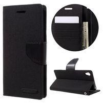 Canvas PU kožené/textilní pouzdro na mobil Sony Xperia XA - černé