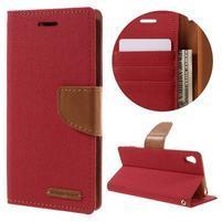 Canvas PU kožené/textilní pouzdro na mobil Sony Xperia XA - červené