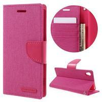 Canvas PU kožené/textilní pouzdro na mobil Sony Xperia XA - rose