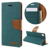Canvas PU kožené/textilní pouzdro na mobil Sony Xperia XA - zelenomodré
