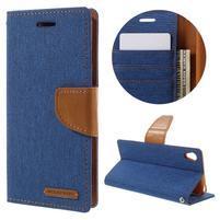 Canvas PU kožené/textilní pouzdro na mobil Sony Xperia XA - modré
