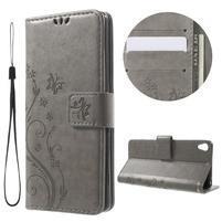 Butterfly pouzdro na mobil Sony Xperia XA - šedé