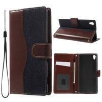 Jeansy PU kožené/textilní pouzdro na Sony Xperia XA - tmavěmodré
