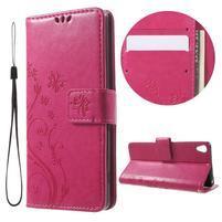Butterfly pouzdro na mobil Sony Xperia XA - rose