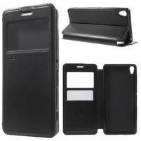 Royal PU kožené pouzdro s okýnkem na Sony Xperia XA - černé