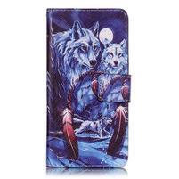 Emotive PU kožené knížkové pouzdro na Sony Xperia XA - mýtičtí vlci