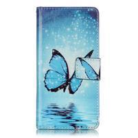 Emotive PU kožené knížkové pouzdro na Sony Xperia XA - modrý motýl