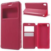 Royal PU kožené pouzdro s okýnkem na Sony Xperia XA - rose
