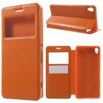 Royal PU kožené pouzdro s okýnkem na Sony Xperia XA - oranžové