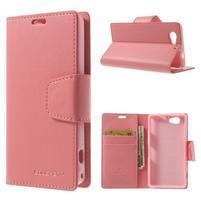 Sonata PU kožené pouzdro na mobil Sony Xperia Z1 Compact - růžové