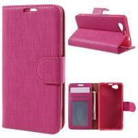 Clothy PU kožené pouzdro na Sony Xperia Z1 Compact - rose