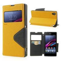 Okýnkové pouzdro na mobil Sony Xperia Z1 - žluté
