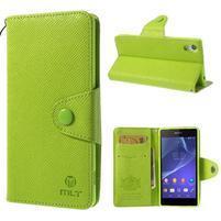 Stylové peněženkové pouzdro na Sony Xperia Z2 - zelené