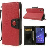 Stylové peněženkové pouzdro na Sony Xperia Z2 - červené/černé