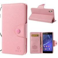 Stylové peněženkové pouzdro na Sony Xperia Z2 - růžové