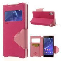 Okýnkové pouzdro na mobil Sony Xperia Z2 - rose