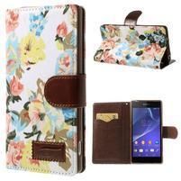 Květinové pouzdro na mobil Sony Xperia Z2 - bílé