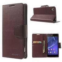 Sonata PU kožené pouzdro na mobil Sony Xperia Z2 - vínové