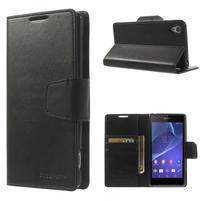 Sonata PU kožené pouzdro na mobil Sony Xperia Z2 - černé