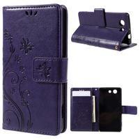 Butterfly PU kožené pouzdro na mobil Sony Xperia Z3 Compact - fialové