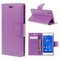 Sonata PU kožené pouzdro na mobil Sony Xperia Z3 - fialové