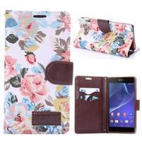 Květinové pouzdro na mobil Sony Xperia Z3 - bílé