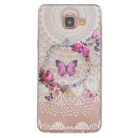 Slim průhledný gelový obal na Samsung Galaxy A3 (2016) - květinový motýl
